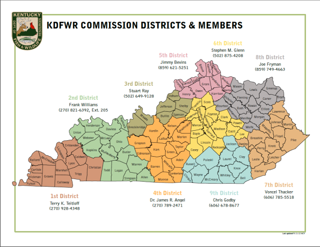 KDFWR 2012 Commission Districts & Members map