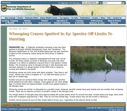 KDFWR press release_20 DEC 2012_Whooping Cranes Spotted in KY Species off limits to Hunting