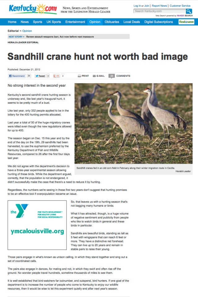LHL OpEd_21 DEC 2012_Sandhill Crane hunt not worth bad image