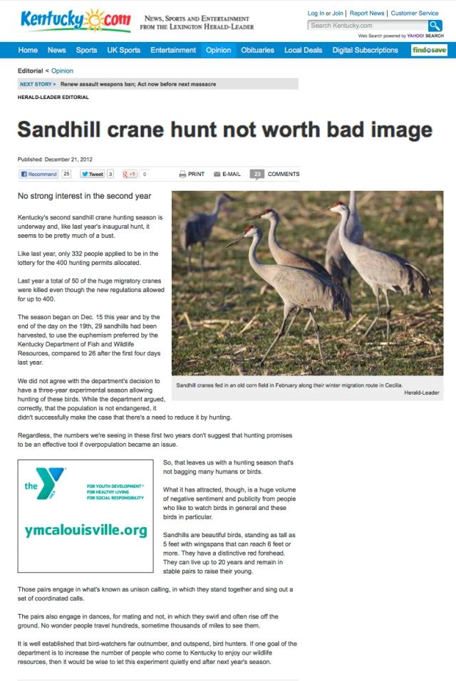 LHL OpEd_21 DEC 2012_Sandhill Crane hunt not worth bad image