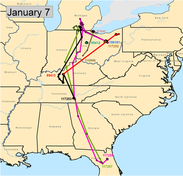 January 7, 2013 – Crane 95413 started south on December 28 and is currently about 40 miles south of Louisville. It has been in the Cecilia area since January 2, 2013.