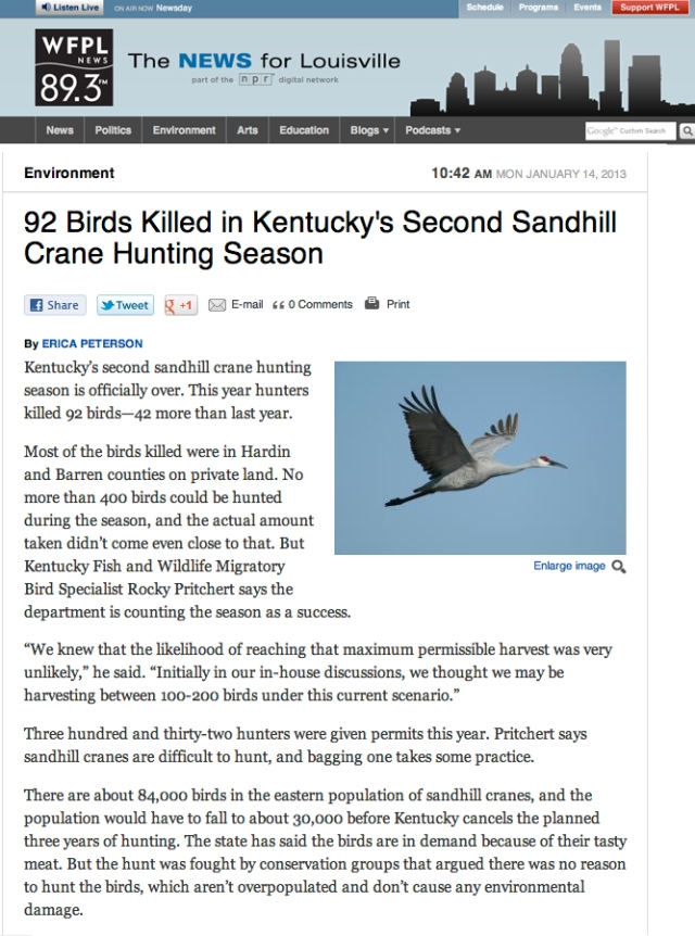 WFPL News_92 Birds Killed in Kentucky's Second Sandhill Crane Hunting Season