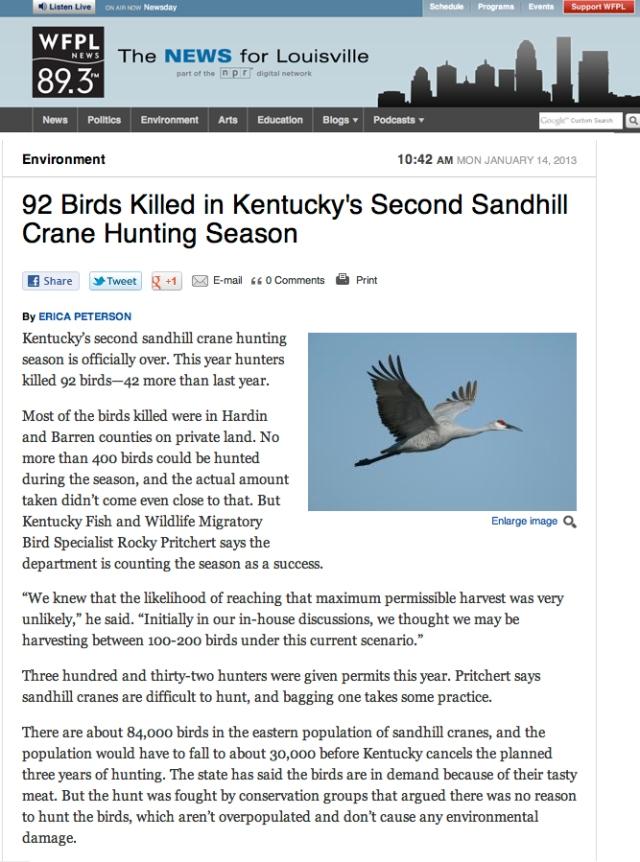 WFPL News_92 Birds Killed in Kentucky's Second Sandhill Crane Hunting Season